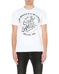 Diesel T-balder Cotton-jersey T-shirt White - Lyst