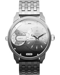 Diesel Mens Mini Daddy Black Ion-plated and Silver-tone Stainless Steel Bracelet Watch 46mm - Lyst