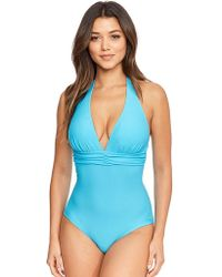 0ca3d8bdf9 Figleaves Maui Underwired Bandeau Tummy Control Swimsuit in Blue - Lyst