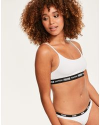 27146a81e34afb PUMA Iconic Padded Bralette in White - Lyst