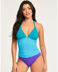 03cbd0714f174 Figleaves - Colourblock Underwired Shaping Halter Swimsuit D-GG Cup - Lyst