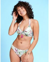 Figleaves - Vintage Palm Underwired Non Pad Halter Bikini Top D-g Cup - Lyst