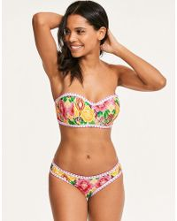 bf960892af752 Figleaves Frida Floral Underwired Bandeau Tummy Control Swimsuit B-g Cup in  Blue - Lyst