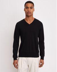 Filippa K - Merino V-neck Sweater Black - Lyst