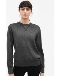 Filippa K - Lurex Knit Sweatshirt Antracite - Lyst