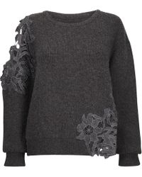 Finery London - Cortaine Grey Lace Detail Jumper - Lyst