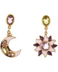 Percossi Papi - Sun & Moon Purple Stone Drop Earrings - Lyst