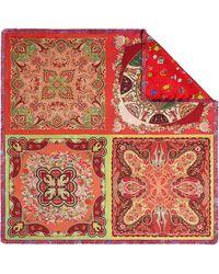 Etro - Double Print Silk Square Scarf - Lyst
