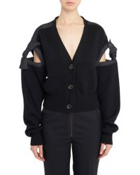 ADEAM - Tie Sleeves Knitted Cardigan - Lyst