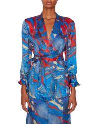 Rosie Assoulin - Marble-print Silk Belted Blazer - Lyst