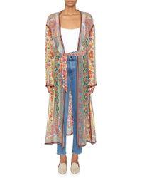 Etro Sheer Silk Printed Robe