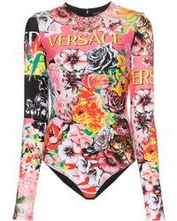 Versace - Floral Print Long Sleeve Bodysuit - Lyst