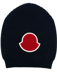 aa81c5dc73a Lyst - Moncler Logo Wool Rib Knit Beanie Hat in Black for Men