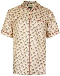 Gucci - Bowling Logo Short Sleeved Shirt - Lyst