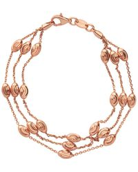 Links of London - Essentials Beaded 18kt Rose Gold 3 Row Bracelet Large - Lyst