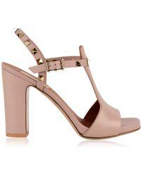e4634ca58b9 Lyst - Valentino Rockstud Crystal-embellished Satin Sandals in Gray
