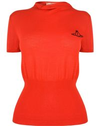 Vivienne Westwood Anglomania - Drape Collar Knitted Top - Lyst