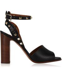 e097f5d990d Lyst - Valentino Rockstud Suede Platform Sandals in Black