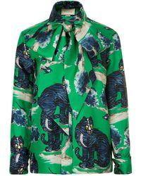 Gucci - Wild Cat Blouse - Lyst