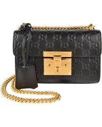 d93a896c3609 Lyst - Gucci Padlock Mini Embellished Leather Shoulder Bag in Black