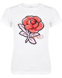 KENZO - Rose Short Sleeved T Shirt - Lyst