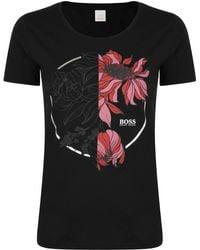 BOSS by Hugo Boss - Flower Print Crew T Shirt - Lyst