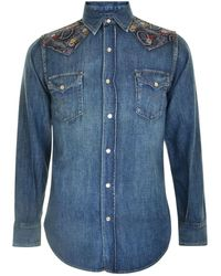 Saint Laurent - Print Denim Shirt - Lyst