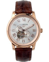 Links of London - Noble Slim Unisex Rose Gold Plate And Brown Leather Automatic Watch - Lyst