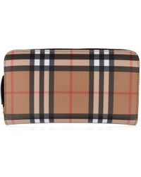 Burberry - Elmore Vintage Check Leather Zip Around Wallet - Lyst