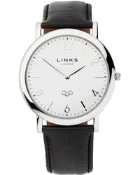 Links of London - Noble Slim Womens White Dial Black Leather Watch - Lyst