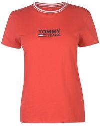 3616e7dd Tommy Hilfiger Tommy Jean 90s Capsule 5.0 Logo Crop Soccer Tee in ...