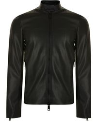 Emporio Armani - Perforated Leather Jacket - Lyst