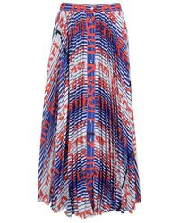 MSGM Pleated Stripe Logo Midi Skirt - Blue
