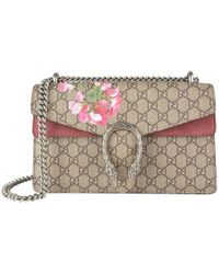 b1c5a13712e4 Gucci Dionysus Blooms Mini Canvas And Leather Chain Bag in Blue - Lyst