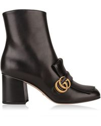Gucci - Marmont Leather Ankle Boots - Lyst