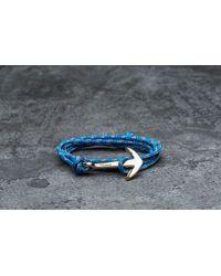 Footshop - Miansai Anchor On Rope Bracelet Gold/ Caribbean - Lyst