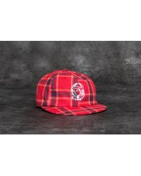 15e772a6879 Footshop - Billionaire Boys Club Helmet Strapback Cap Red Check - Lyst