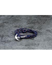 Footshop - Miansai Anchor On Rope Bracelet Silver/ Navy Blue - Lyst