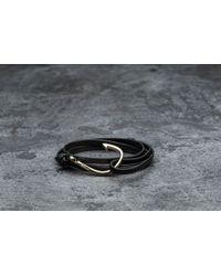 Footshop - Miansai Hook On Leather Bracelet Gold/ Black - Lyst