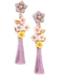 Forever 21 - Tassel Floral Tiered Drop Earrings - Lyst