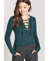 FOREVER21 - Lace-up Ribbed Sweater - Lyst
