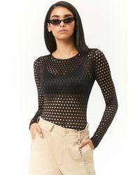 Forever 21 - Sheer Perforated Bodysuit - Lyst