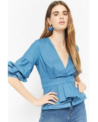 Forever 21 - Eta Chambray Pickup Sleeve Top - Lyst