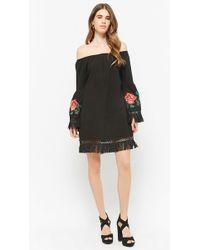 Forever 21 - Frayed Embroidered Rose Dress - Lyst