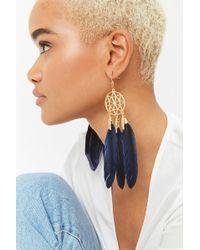 Forever 21 - Faux Feather Dreamcatcher Drop Earrings - Lyst