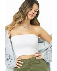 823942c09b Lyst - Forever 21 Smocked Tube Top in Red