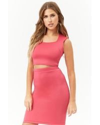 Forever 21 - Square Neck Crop Top & Bodycon Skirt Set - Lyst