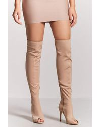 Forever 21 - Over-the-knee Open-toe Boots - Lyst