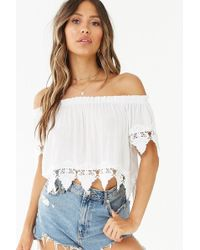 826d3422968a03 Forever 21 Scallop Lace Off-the-shoulder Top in Black - Lyst