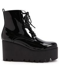 Forever 21 - Faux Patent Leather Platform Combat Boots - Lyst